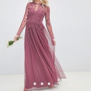 Asos lace tulle embroidered maxi dress blush pink